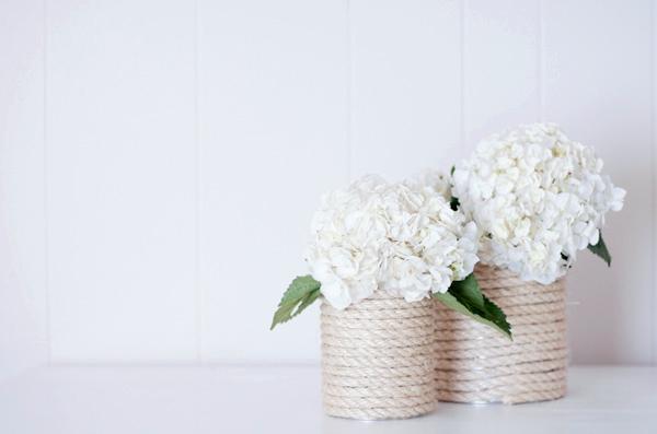 Come creare un vaso shabby di corda per i fiori