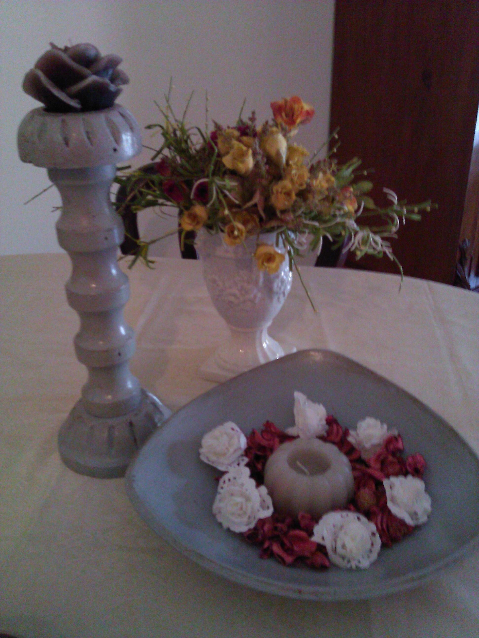 Vassoio e porta candela in Stile  Shabby Chic