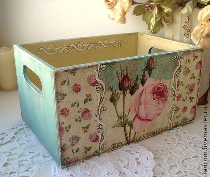 Cassette di legno con decoupage Stile Shabby