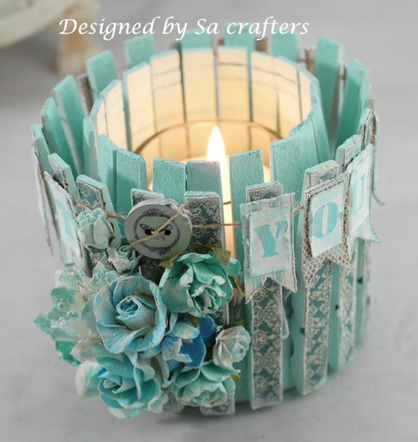 Grazioso porta candela  Shabby realizzato con le mollette