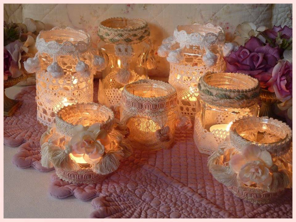 Idee per decorare: i barattoli  Shabby porta candele (luminarie)