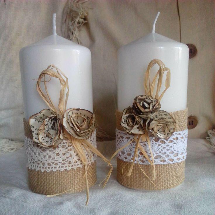 Decorare i ceri con merletto fiori e carta il blog italiano sullo shabby chic e non solo - Velas decoradas para navidad ...