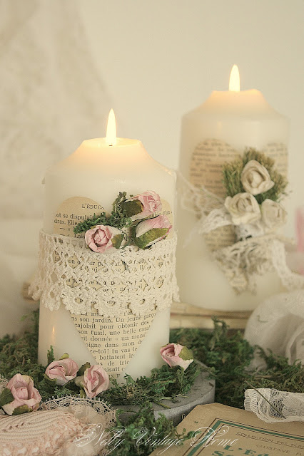Decorare i ceri con merletto fiori e carta il blog - Decorare casa con candele ...