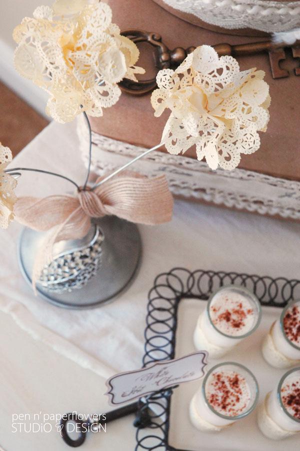 Simpatici fiori Shabby merlettati realizzati con i centrini di carta
