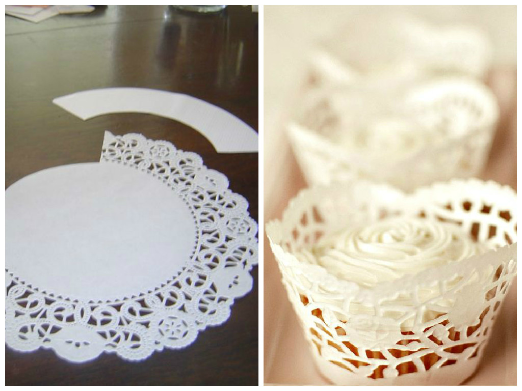 DIY doily cupcake wrappers