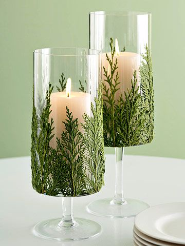 Graziosi calici porta candele Shabby con foglie di Pino