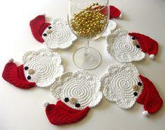 Idea regalo Sotto tazze o bicchieri Natalizie all'uncinetto