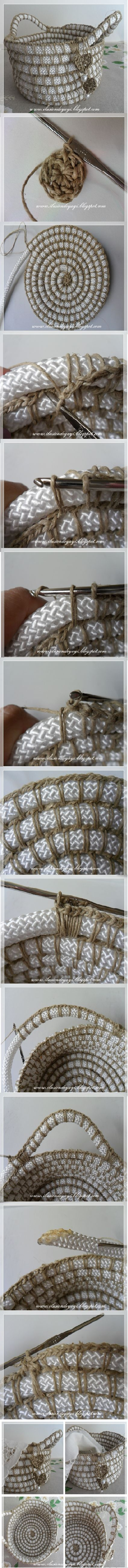 Tutorial per creare un cestino Shabby all'uncinetto con corda e spago