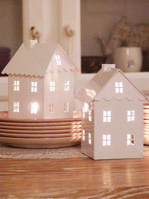 Casette illuminate in miniatura per ambienti Shabby