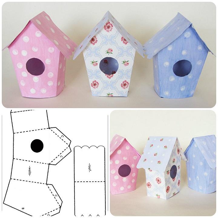 Graziose casette realizzate con il cartoncino nuove idee pasquali il blog italiano sullo - Casetta in cartone da colorare ...