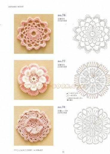 Varietà di fiorellini all'uncinetto  con schema per applicazioni Shabby