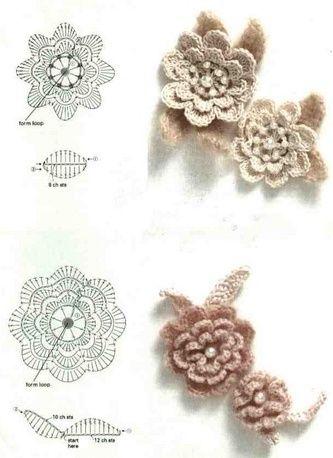 Piccoli fiorellini all'uncinetto con schema
