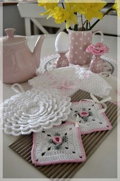 Presine Shabby all'uncinetto