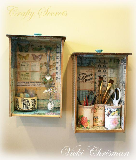 Idee e riciclo di vecchi cassetti nello stile Shabby