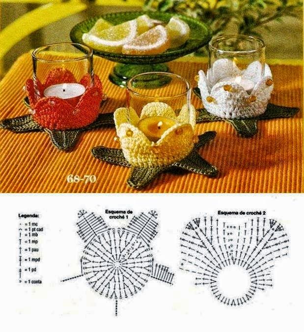 Supporti per bicchieri all'uncinetto con schema
