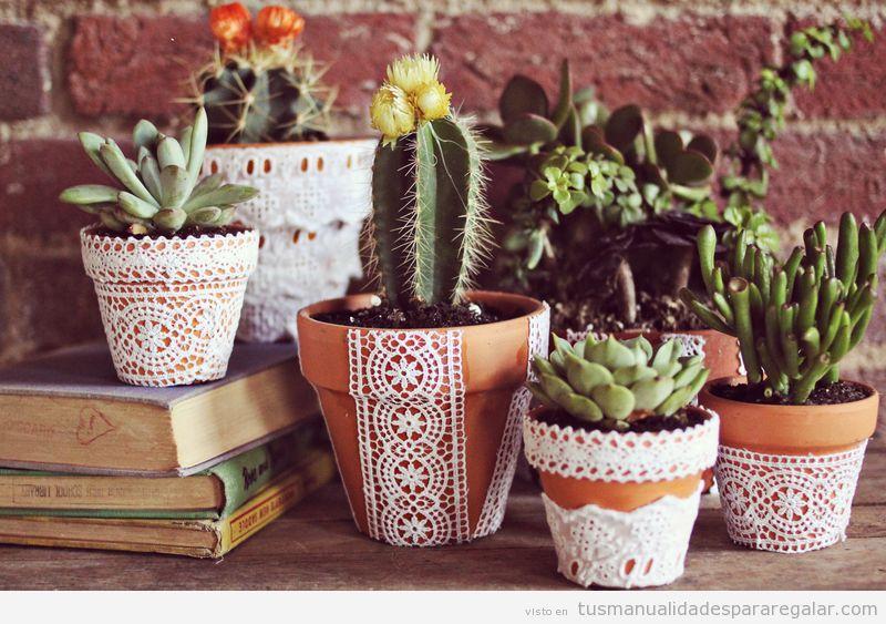 Tutorial per decorare i vasi delle nostre piante con i merletti
