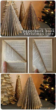 Alberelli Di Natale Fatti Con Le Pagine Dei Vecchi Libri