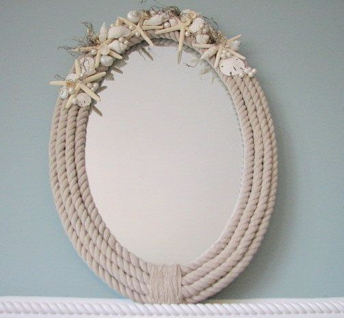Specchi in stile shabby incorniciati con la corda il - Specchi stile shabby chic ...