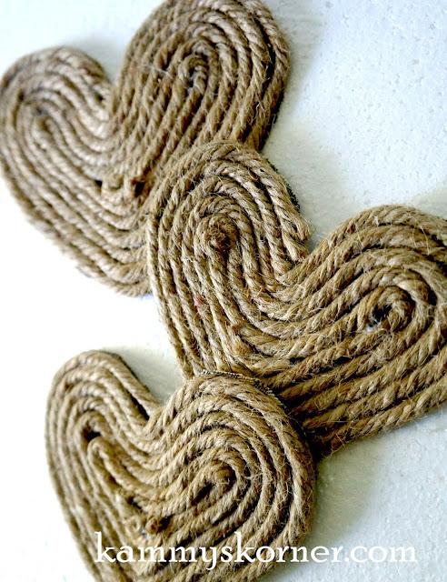 jute rope sisal hearts