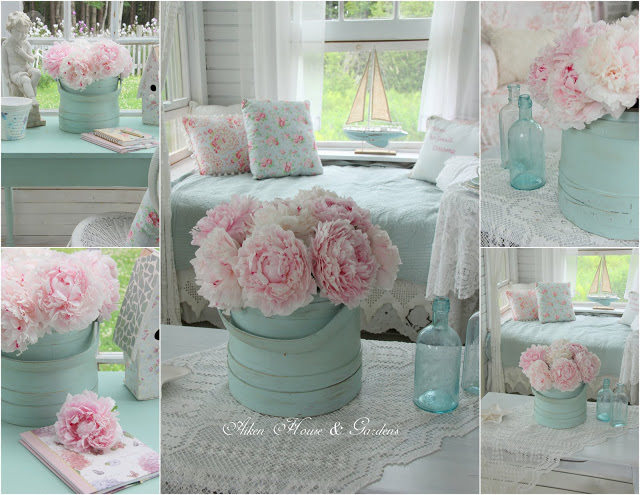 peonies in sunroom