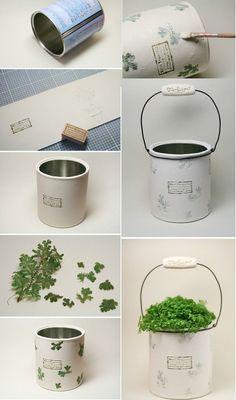 Porta piante realizzato con le lattine